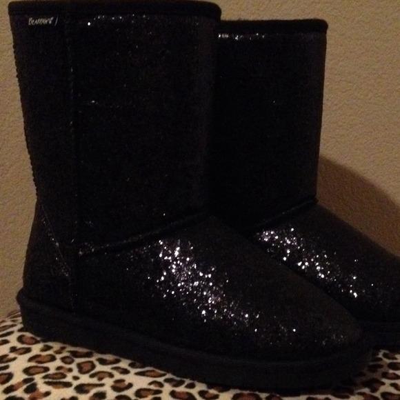 Bearpaw Shoes Black Glitter Black Sheepskinwool Boots 9