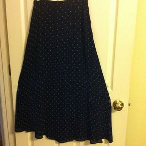 Ralph Lauren silk long polka dot skirt.