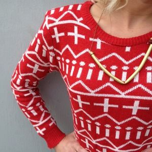 Sweaters - Red graphic hi low sweater
