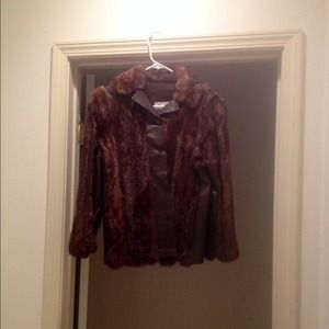 % Authentic Brown Mink Coat with Leather Trim