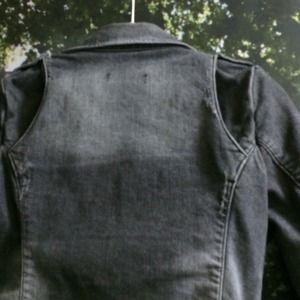 Zara Jackets & Coats - Distressed Denim Moto Jacket in Grey