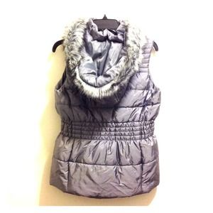Sleeveless Silver Vest Jacket from New York & Co