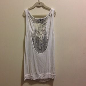 White Sequin Back Express Top