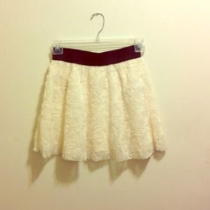 Flower Design White Skirt