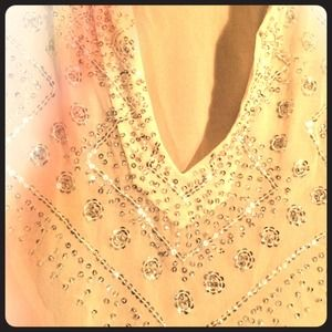 Tops - Silk sparkle sheer tunic. 100% silk, made in India