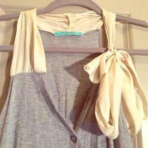 Tops - Jersey knit grey cardigan vest with silk tie