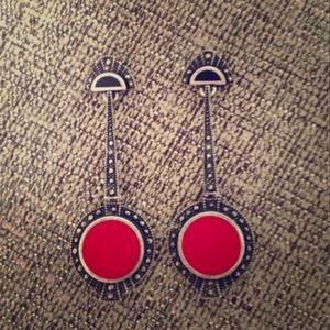 JewelMint Red Drop Earrings