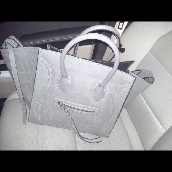 celine phantom medium red crocodile leather