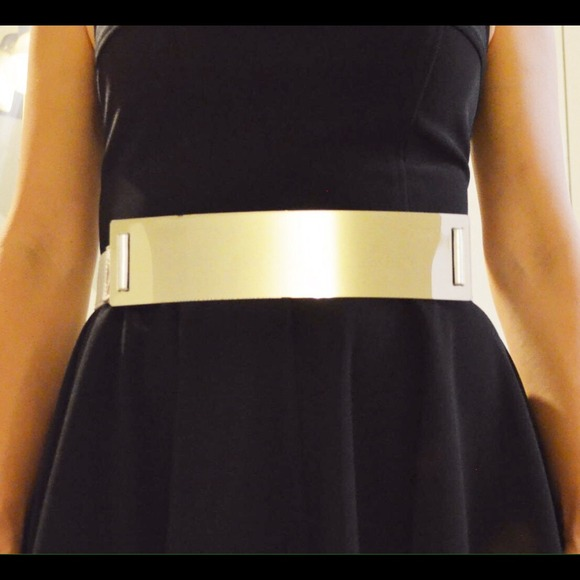 "new silver metal plate 2.5"" wide plus size belt os from margaret's"
