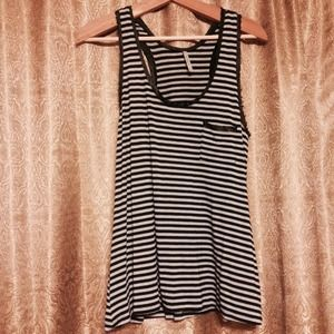 Striped Sleeveless Top w/ Frayed Edges