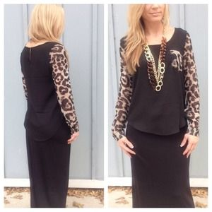 Tops - New black chiffon leopard sleeve/pocket blouse
