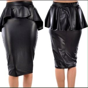 Faux Leather Peplum Pencil Skirt