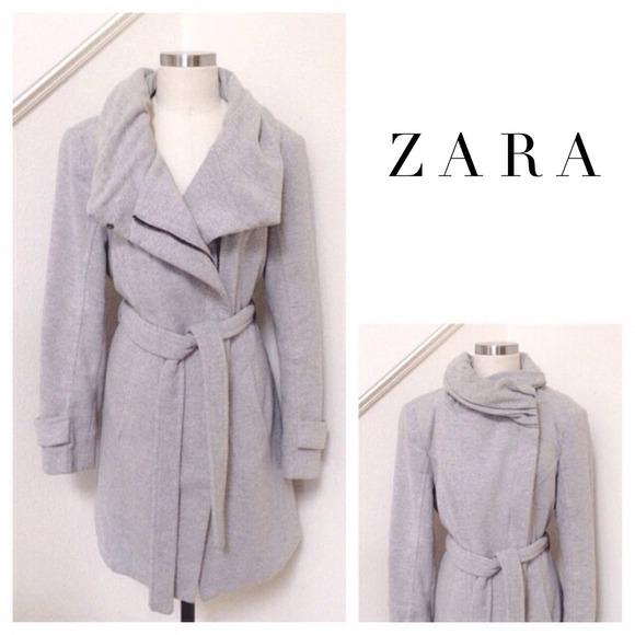 804aa6f241 RESERVED Zara Wool Wrap Around Collar Gray Coat