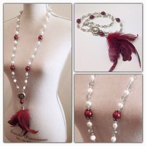 Jewelry - Feathers Pearls Long Necklace