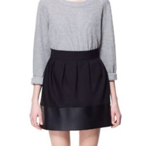 Zara Dresses & Skirts - Zara Faux Leather Trim Skirt