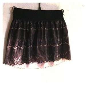 Black/Light Pink Lace Skirt