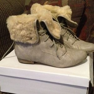 Grey Faux Fur Laceup Booties