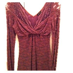 Stretchy brown lace top