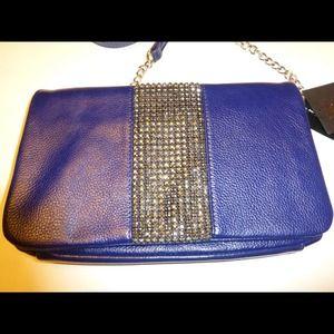 🎉Reduced🎉INC Blue Leather Rhinestone Handbag