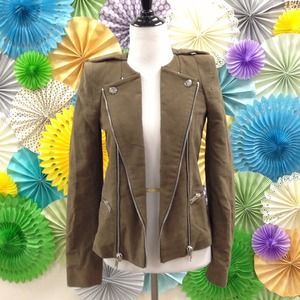 Zara Outerwear - Zara Green Velvet Military Jacket w/ Zipper detail