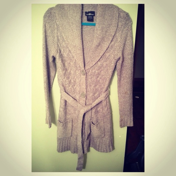 67% off Sweaters - Long tan cardigan sweater w/belt from Rebekah's ...