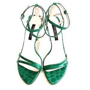Sergio Rossi Green Crocodile Strappy Sandals