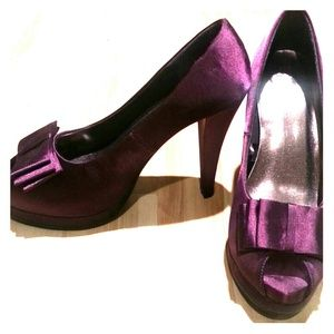 BUNDLED - Awesome  purple satin platform pumps