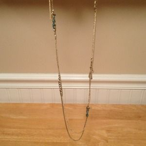 BCBG long muted gold dbl chain necklace-NWT