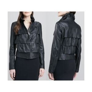 DVF Leather Cupcake Bomber Jacket