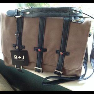 R+J Handbags - NEW✨R+J Vegan Crossbody Satchel Taupe & Navy