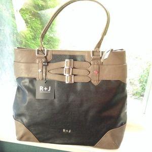 R+J Handbags - NEW✨R+J Big Beautiful Black & Taupe Vegan Bag