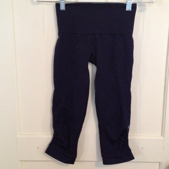53% off lululemon athletica Pants - Lululemon navy blue yoga Capri ...