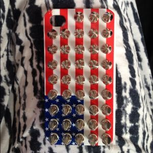 Accessories - Spiked American Flag iPhone 4/4s hard case