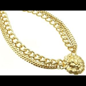 Kristee P Jewelry - Chain Lion Head Statement Necklace