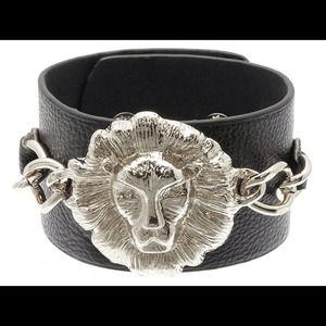 Faux Leather Chain Lion Head Bracelet