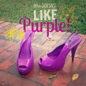 Shoedazzle Shoes - 💜 PURPLE patent leather sling back stiletto's 💜
