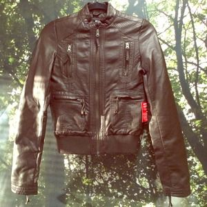 NWT Rich Brown Vegan Leather Moto Jacket