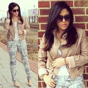 Jackets & Blazers - Tan Faux Leather Jacket