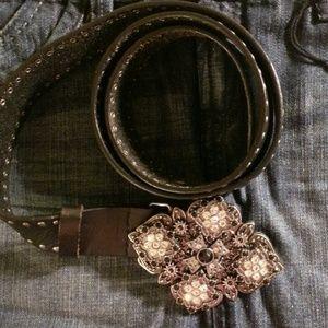 Guess Black Leather Belt