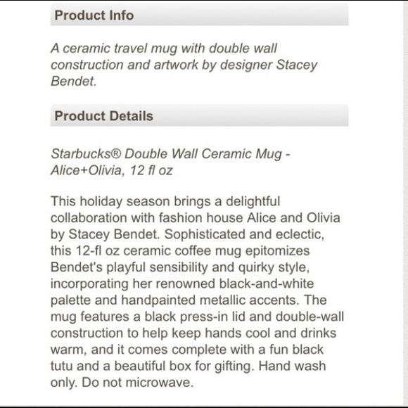 Alice + Olivia Accessories - 2 Alice + Olivia for Starbucks Double Ceramic Mug