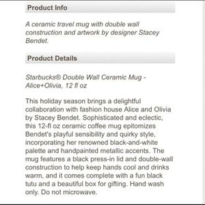 Alice + Olivia Accessories - 2 Alice + Olivia for Starbucks Double Ceramic Mug