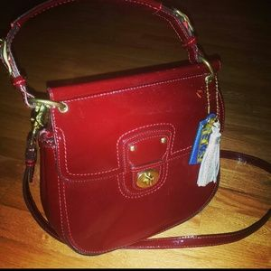 Red Coach patent leather willis bag