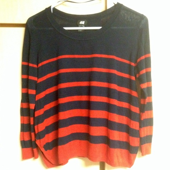 52% off H&M Sweaters - H&M navy and red striped sweater from ...
