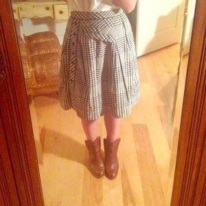 Anthropologie Swirl Gingham Skirt, Navy and Cream