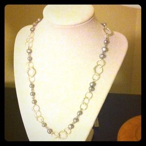 Jewelry - Handmade silver rice beaded Textured necklace