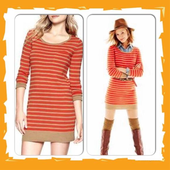 44% off GAP Dresses & Skirts - 👀Orange Striped Sweater Dress ...