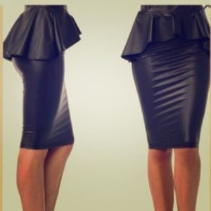 Faux leather peplum skirt new!
