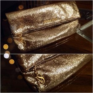 VS Envelope Fold-Over Gold Glitter Large Clutch