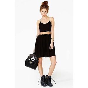 Nasty Gal black gold chained dress