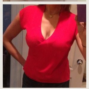 ❤Sexy Red Sheer V-neck Blouse ❤ REDUCED